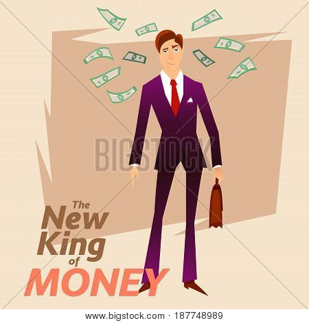 New King of Money.Successful White Collar Character on Money Greenback Background.Happy Trader Person in Blue Formal Suit.Successful Clerk Character Stocks Broker on Dollars Greenback Background.