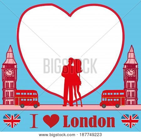 Romantic couple in London card , vector illustration