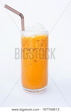 milk thai tea cold sweet water on white background
