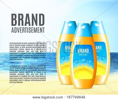 Design of sun protection cosmetic product. Cosmetic bottle on a nature background. Template for ads or magazine. 3d illustration. EPS10 vector