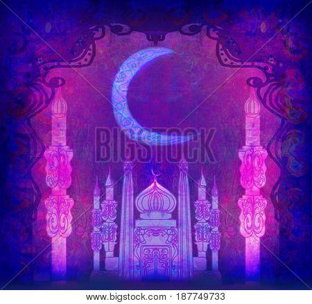 Ramadan Kareem Design at night , raster