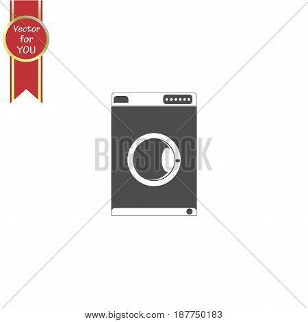 Washing machine vector icon vector illustration. Wash and close