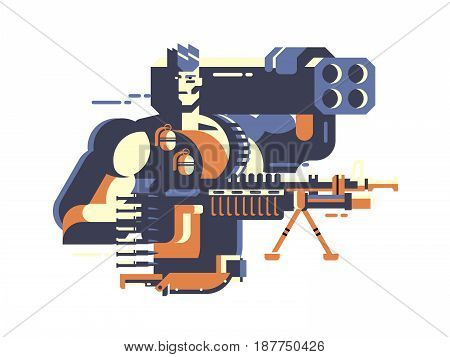 Soldier with gun. Army and war, military force, conflict and protection, man combat, vector illustration