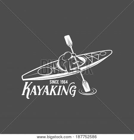 vintage rafting, kayaking, paddling, canoeing camp logo, label, badge. Kayak isolated vector. Kayak icon. Kayaker emblems. Kayaking logotypes. Rafting icons. Rafting team design