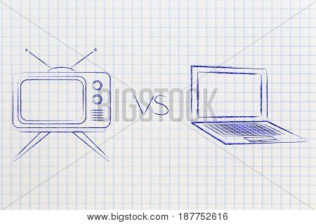 Retro Style Television Vs Laptop Computer