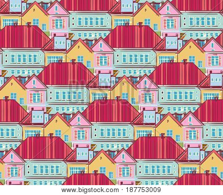 Seamless pattern with town houses. Hand-drawn illustration. Vector.