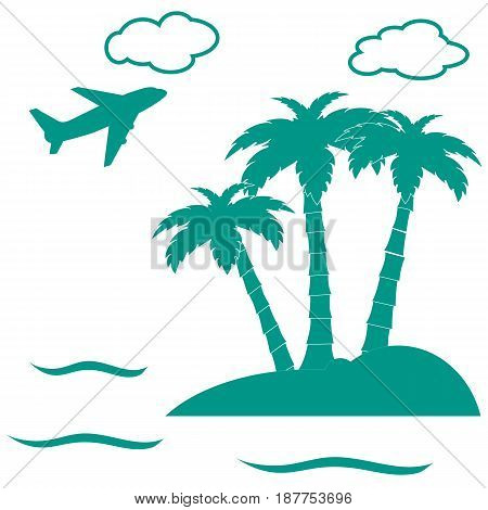 Stylized Icon Palm Trees On An Island In The Ocean And A Flying Plane