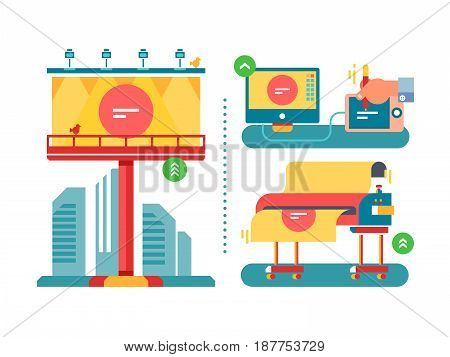 Outdoor advertising process. Billboard advertisement, poster commercial, board advertise, placard information, vector illustration