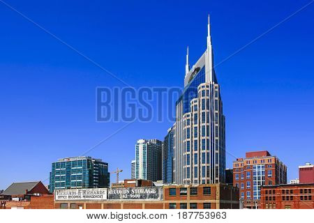 Nashville, TN, USA - 04/05/2015: The Nashville skyline dominated by the AT&T (batman) tower
