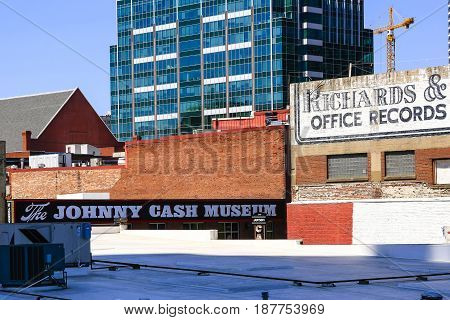 Nashville, TN, USA - 04/05/2015: Rooftop view of the Johnny Cash Museum sign on 3rd Ave S in downtown Nashville