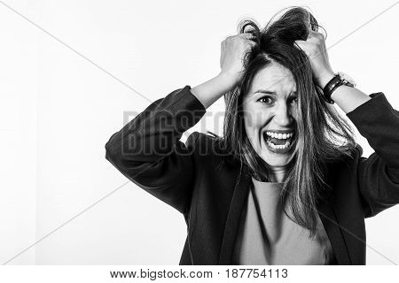 Portrait of a Stressed Young Woman with Screaming Face Expression
