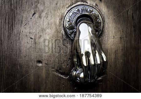 Elegant Brass Door Handle Hand Shape Detail