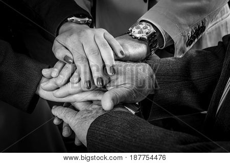 Teamwork Join Hands Support Together Concept. Business People Joining Hands.