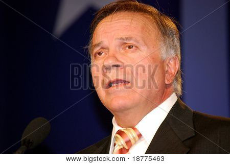"WASHINGTON DC – OCT 19: Representative Tom Tancredo (R-Col) speaking at ""Washington Briefing 2007: Values Voter Summit"" on October 19, 2007, at the Hilton Hotel in downtown Washington DC."