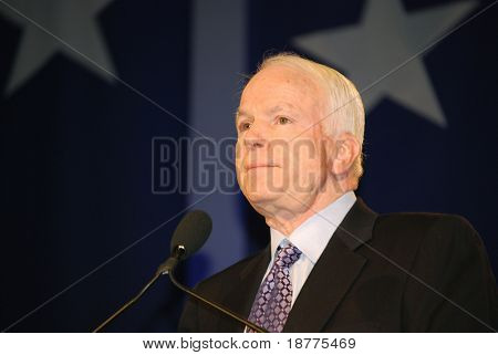 "WASHINGTON DC – OCT 19: Senator John McCain speaking at ""Washington Briefing 2007: Values Voter Summit"" on October 19, 2007, at the Hilton Hotel in downtown Washington DC."