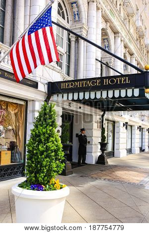 Nashville, TN, USA - 04/05/2015: The entrance to the famous Hermitage hotel on 6th Avenue N in downtown Nashville Tennessee