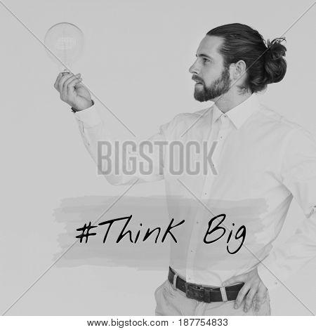 Adult Man Holding Light Bulb Ideas Creative Thinking Word