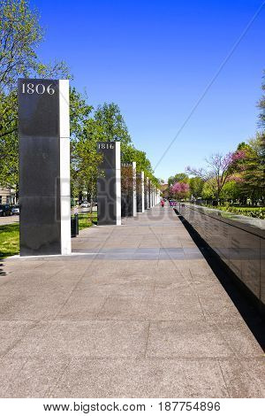 Nashville, TN, USA - 04/09/2015: The walk of history in the Bicentennial Capitol Mall State Park in Nashville TN