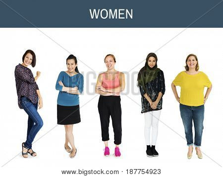 Diverse group of cheerful girls standing in a row