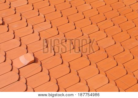 New Red Roof Tiling, Close-up Background Photo