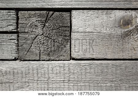 Vintage Weathered Gray Wooden Wall Details
