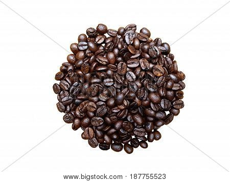 Isolated roasted coffee beans on white background