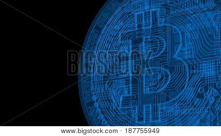 Bitcoins, new virtual money on various digital background, 3D render