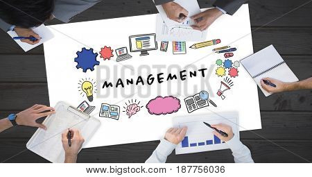 Digital composite of Cropped image of business people working with management text surrounded by graphics