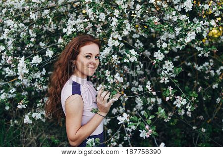 Red-haired girl with freckles near apple-tree in purple dress