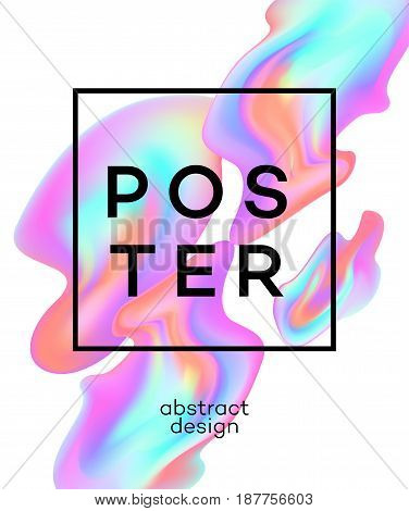 Poster design with colored fluid. Vector illustration EPS10