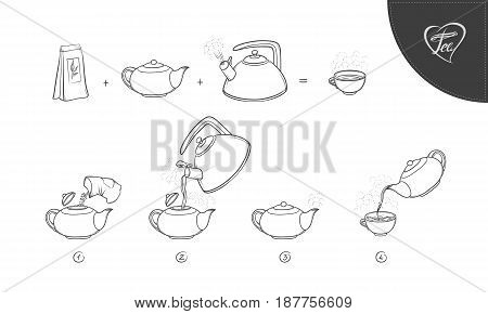 Vector sketch illustration tea brew procedure icons. Tea making instruction. Guidelines how to make hot aromatic drink. Lettering. Teapot and boil in the kettle water