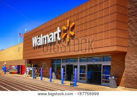 Port Charlotte, FL, USA - 04/03/2016: Outside the Walmart in Port Charlotte, FL,
