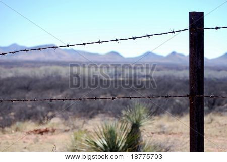 Razor-wire border fence in Arizona to prevent cattle but not people from crossing the border poster