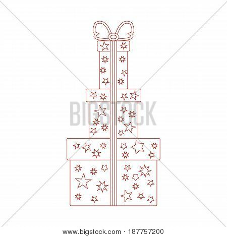 Vector Illustration Of Gift Boxes Decorated Stars Made In Line Style.