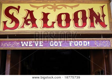Saloon sign in Wild West style