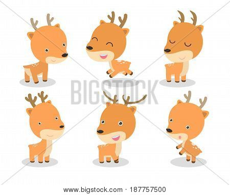 set of cute deer cartoon on white background. vector illustration