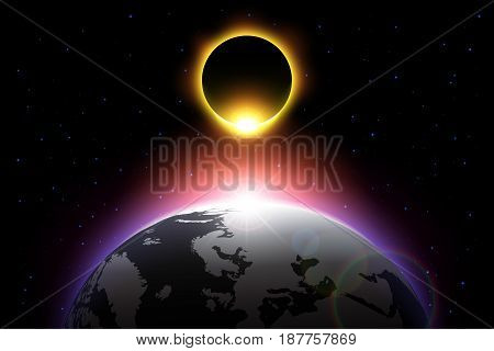Earth and solar eclipse . Vector .