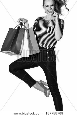 Cheerful Fashion-monger With Shopping Bags On White Posing