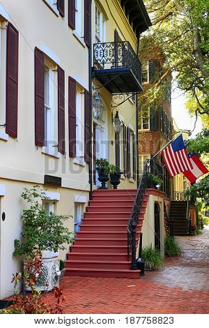Savannah, GA, USA - 09/08/2016: Architecture in downtown Savannah GA