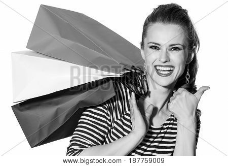 Smiling Fashion-monger On White Background Showing Thumbs Up