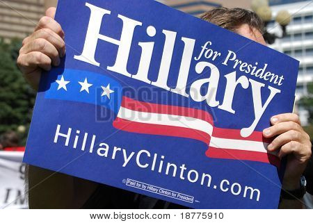 DENVER – AUGUST 26: A Hillary Clinton supporter holds a sign at the Democratic National Convention August 26, 2008 in Denver, Colorado.