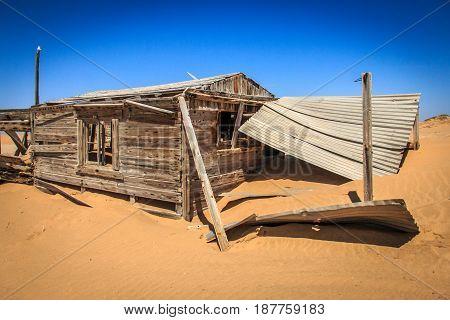 Wooden House In The Namib Desert.