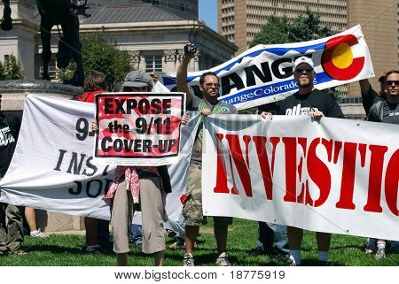 DENVER - AUGUST 26: Conspiracy theorists (9-11) demonstrate in Civic Center Park during the Democratic National Convention on August 26, 2008 in Denver, Colorado.