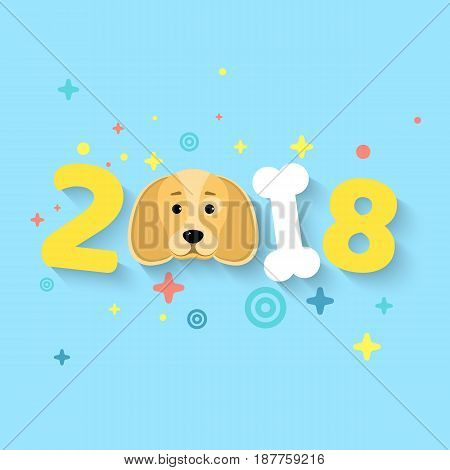 Happy New Year 2018. The year of the yellow earth dog. A pattern from different multi-colored symbols. The numbers are chaotic. White bone. The falling shadow. Vector illustration in a flat style