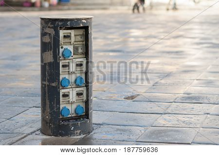 External switch cabinet for the outdoor market stalls.