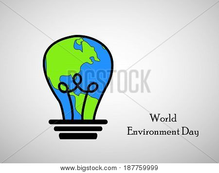 illustration of bulb in earth background with world environment day text