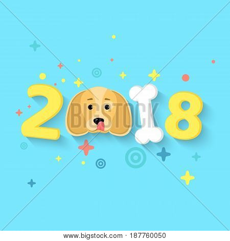 Happy New Year 2018. The year of the yellow earth dog. Figures of chaotic size in 3d style. White bone. The falling shadow. Vector illustration in a flat style