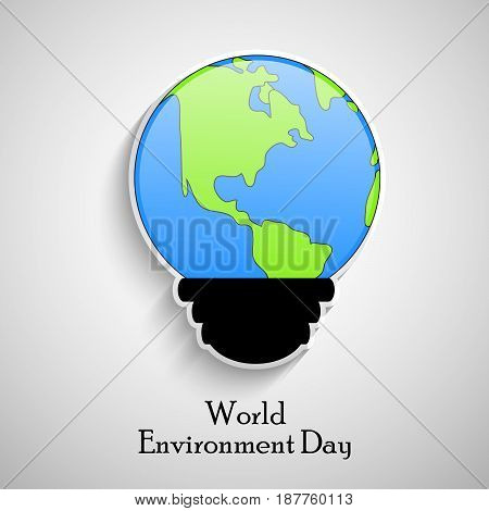illustration of earth in bulb shape with world environment day text