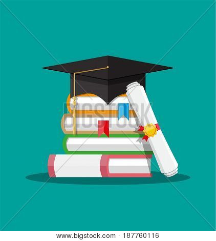 White rolled paper diploma scroll with yellow stamp, red ribbons and black graduation cap, books. Graduation concept. Vector illustration in flat style