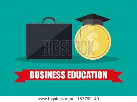 Business briefcase, graduation cap, gold coin. Business graduation concept. Vector illustration in flat style